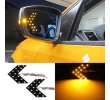 LED указатели поворота зеркала заднего вида, желтые, пара