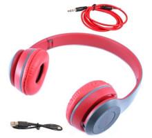 Наушники беспроводные Bluetooth гарнитура P47 MicroSD, красные