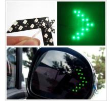 LED указатели поворота зеркала заднего вида, зеленые, пара