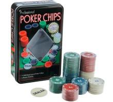Набор фишек для покера, 100шт фишки с номиналом в металл коробке