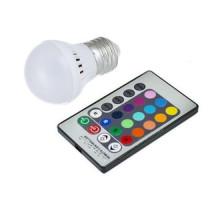 Светодиодная E27 LED RGB 3Вт лампа, 16 цветов с пультом ДУ
