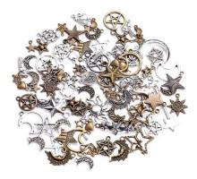 Набор из 100 металлических подвесок шармов шармиков, звезды + луны