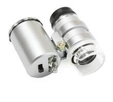 Микроскоп 60X карманный, лупа с подсветкой