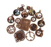Набор из 15 металлических подвесок шармов шармиков, часы Premium